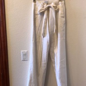 Bebe lined linen pants with tie